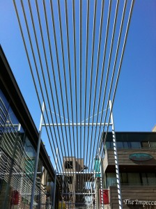 Metal outdoor structure over shopping center